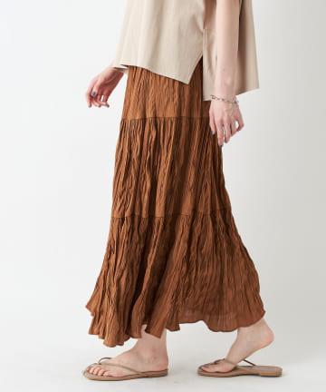 un dix cors(アンディコール) 《予約》【《リラクシーで女性らしい》手洗い可】ランダムプリーツティアードスカート