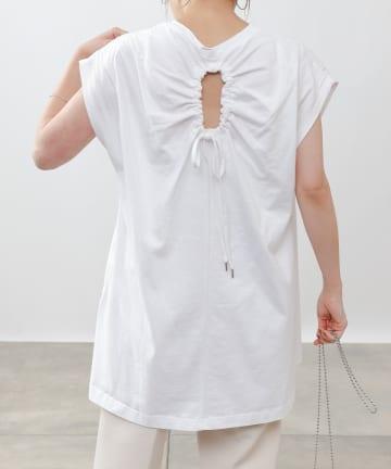 COLONY 2139(コロニー トゥーワンスリーナイン) 【WEB・一部店舗限定】フレンチスリーブギャザーホールカットTシャツ