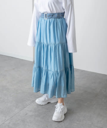 RASVOA(ラスボア) ワイドベルトティアードスカート