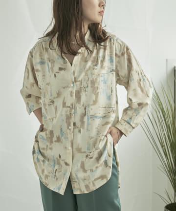 mona Belinda(モナ ベリンダ) 《期間限定タイムセール》ニュアンスプリントバンドカラーシャツ