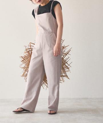 natural couture(ナチュラルクチュール) 【大人ナチュ】アシメストラップサロペット