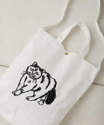 ear PAPILLONNER(イア パピヨネ) (WEB限定)【earアニマルズ】ネコ刺繍A4コットントートバッグ