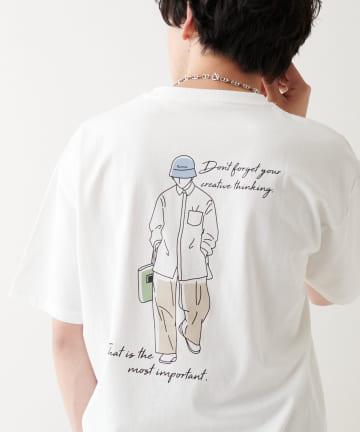 Discoat(ディスコート) 【ユニセックスで着用可能】チルアウトイラストプリントTシャツ