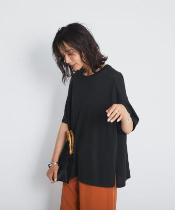 RIVE DROITE(リヴドロワ) 【カジュアルに着てもクリーンな印象】ポリエステルコットン天竺ドロップTシャツ