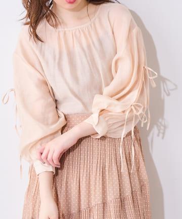 natural couture(ナチュラルクチュール) 【WEB限定】ダブルリボン2WAYシアーブラウス
