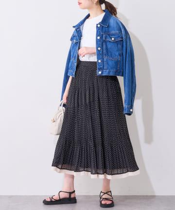 natural couture(ナチュラルクチュール) ドットアシメプリーツスカート