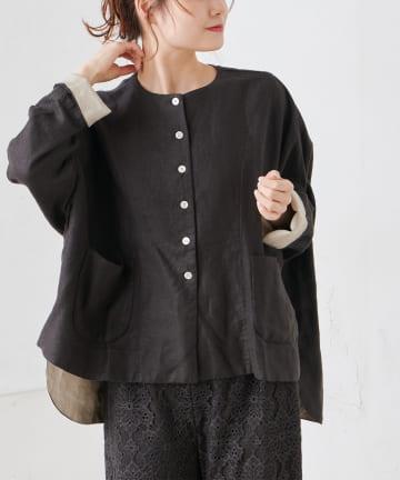 pual ce cin(ピュアルセシン) 麻レーヨンツイルジャケット