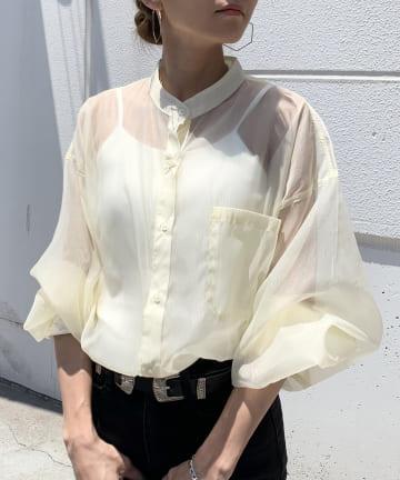 RASVOA(ラスボア) オーガンジースタンドカラーシャツ