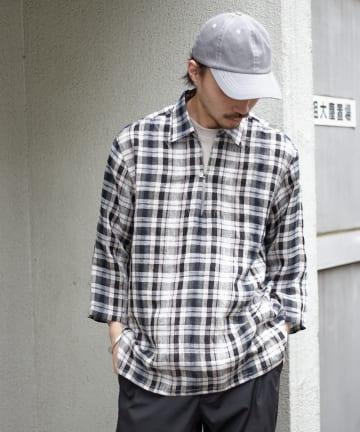 CIAOPANIC TYPY(チャオパニックティピー) ベルギーリネンチェックスキッパーシャツ (8分袖)