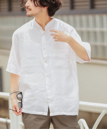 CIAOPANIC TYPY(チャオパニックティピー) パナマ織りバンドカラーシャツ