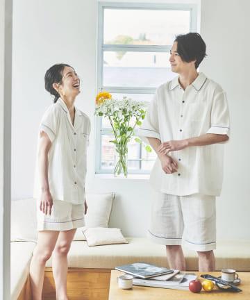 TERRITOIRE(テリトワール) 【オーガニックコットン】LADIESしあわせWガーゼパジャマ 半袖×半パン
