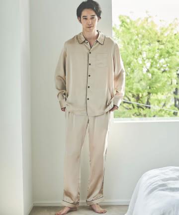 TERRITOIRE(テリトワール) 【Belheur ベルヌール】MENSシルク100%パジャマ 上下セット