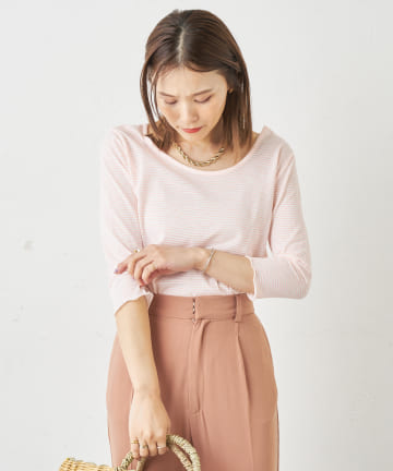 Omekashi(オメカシ) ボーダーバックシャンメロウTシャツ