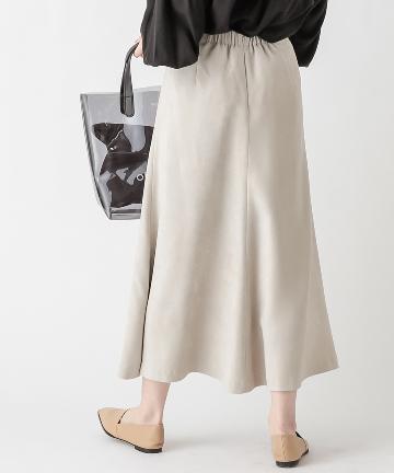 OUTLET premium(アウトレット プレミアム) 【《シルエットが女性らしい》手洗い可】フェイクスエードフレアスカート