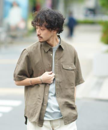 CIAOPANIC TYPY(チャオパニックティピー) リネンレーヨンレギュラーカラー半袖シャツ