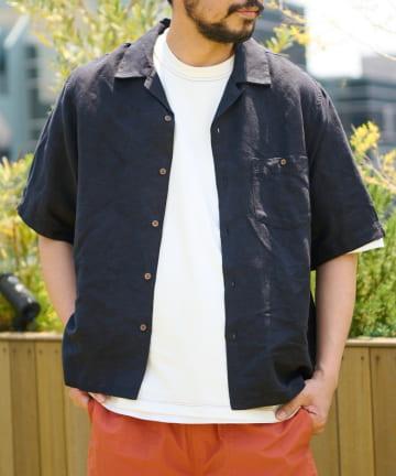 CIAOPANIC TYPY(チャオパニックティピー) 【全色着用動画付】リネンレーヨンオープンカラー半袖シャツ