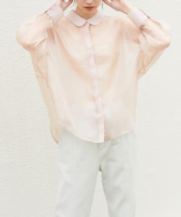 OLIVE des OLIVE(オリーブ デ オリーブ) オーガンジーゆるシャツ