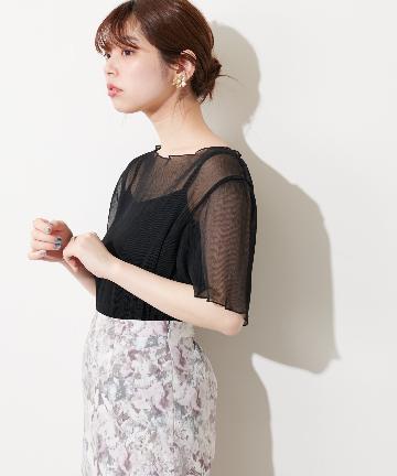 natural couture(ナチュラルクチュール) 【WEB限定】インナーキャミ付きシアーメロウブラウス