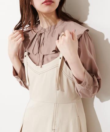 natural couture(ナチュラルクチュール) 【WEB限定カラー有り】タックフリル衿細リボンブラウス