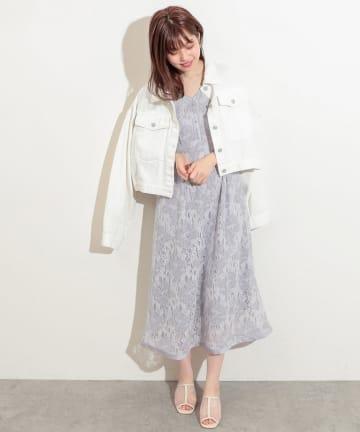 natural couture(ナチュラルクチュール) 袖口パイピング7分袖レースワンピース