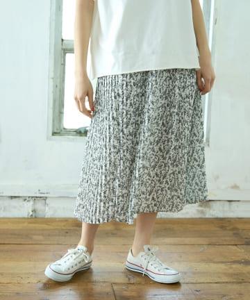 pual ce cin(ピュアルセシン) 【WEB限定】花柄プリントプリーツスカート