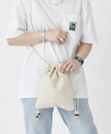 CPCM(シーピーシーエム) 綿麻巾着バッグ