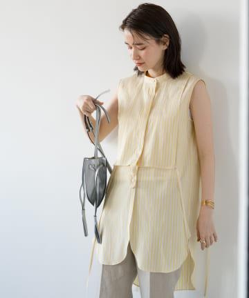 Loungedress(ラウンジドレス) ノーカラーチュニックシャツ