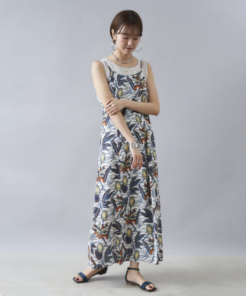 DOUDOU(ドゥドゥ) 【saramallika】 LINEN AFRICAN FLOWER DRESS