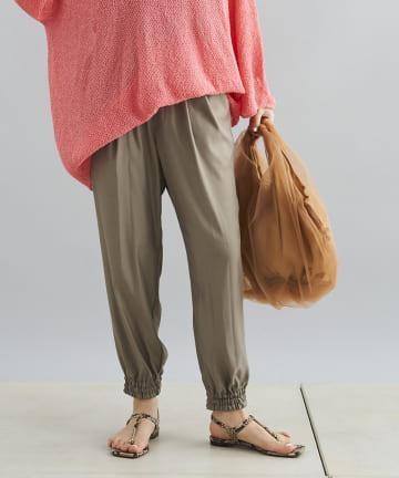 DOUDOU(ドゥドゥ) キュプラフィブリル裾絞りパンツ