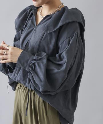 DOUDOU(ドゥドゥ) テンセル麻ギャザー襟ブラウス