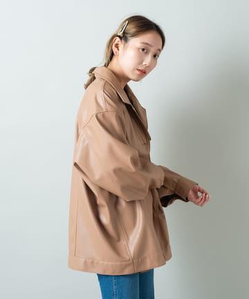 OUTLET(アウトレット) 【Kastane】フェイクレザーオーバージャケット