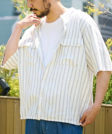 CIAOPANIC TYPY(チャオパニックティピー) レーヨン麻バンドカラーシャツ