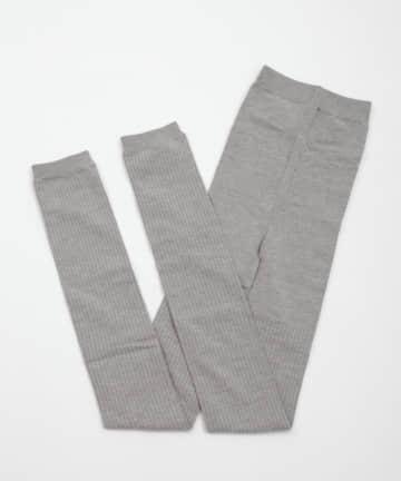 3COINS(スリーコインズ) 綿混リブレギンスAg+XL