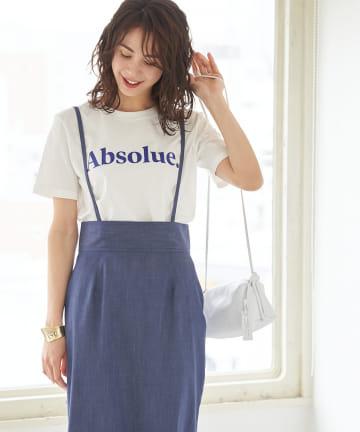 OUTLET premium(アウトレット プレミアム) 【手洗い可】リヨセルデニムストラップスカート