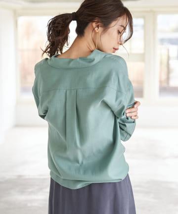 OUTLET premium(アウトレット プレミアム) 【印象がかわる2way仕様】パール釦オーバーカシュクールシャツ
