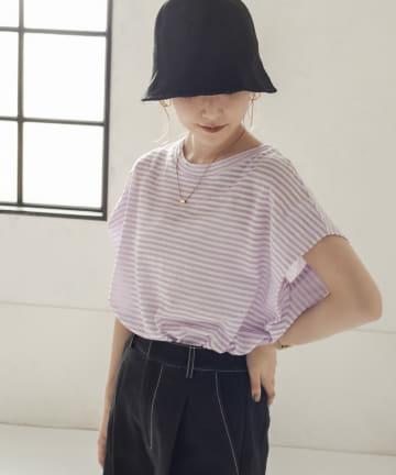 CAPRICIEUX LE'MAGE(カプリシュレマージュ) サイドタックボーダーフレンチTシャツ