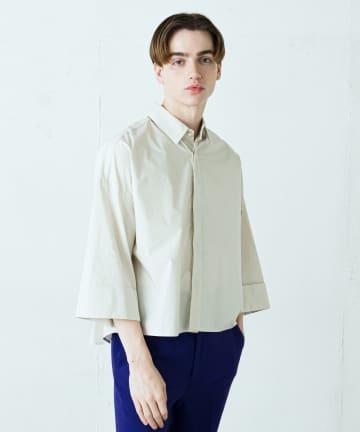 Lui's(ルイス) パールボタン8分袖ショート丈シャツ