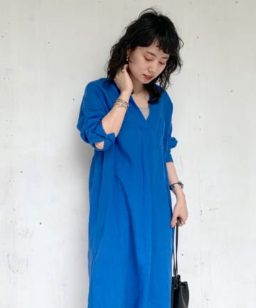 SHENERY(シーナリー) 【WEB限定カラー:ブルー】スキッパーリネンロングドレス