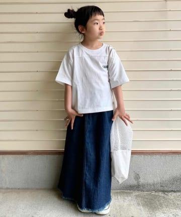 CIAOPANIC TYPY(チャオパニックティピー) 【KIDS】コットンリネンデニム リメイクロングスカート