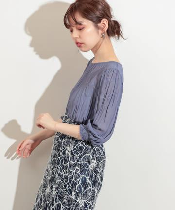 natural couture(ナチュラルクチュール) 【WEB限定】クリンクル加工シアーブラウス