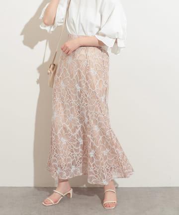 natural couture(ナチュラルクチュール) 大花レースレディスカート