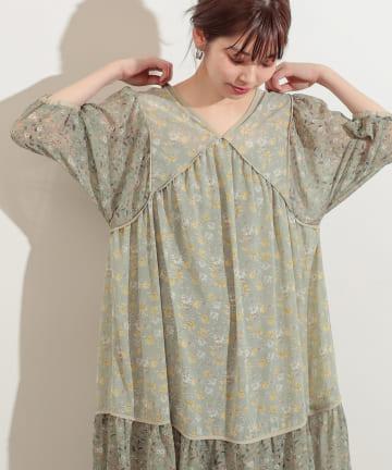 natural couture(ナチュラルクチュール) 【WEB限定カラー有り】パッチワークフラワーワンピース