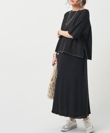 Chez toi(シェトワ) 【セットアイテム】メロー楊柳プルオーバー×スカート