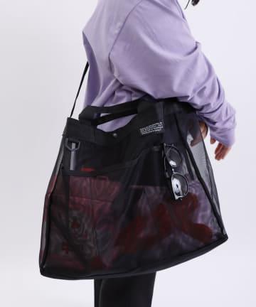 3COINS(スリーコインズ) 【デザインが新しくなりました】大容量メッシュバッグ
