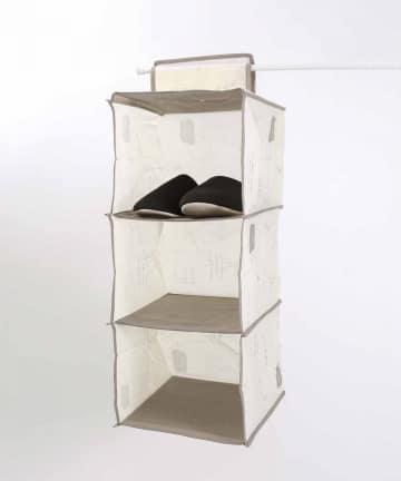 3COINS(スリーコインズ) 【一部大型店舗限定】吊り下げ三段収納ワイド