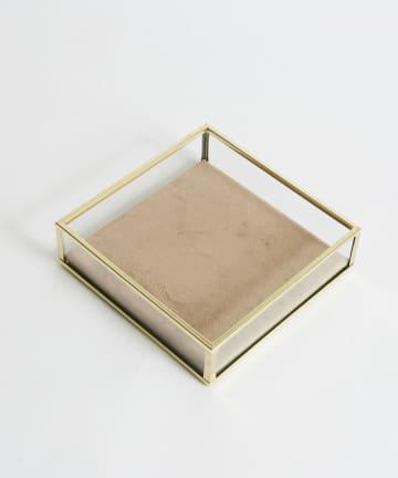 Lattice(ラティス) 《オシャレに収納》GOLD FRAME ベロアトレイ(正方形)
