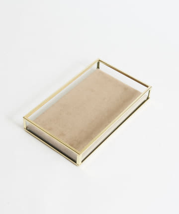 Lattice(ラティス) 《オシャレに収納》GOLD FRAME ベロアトレイ(長方形)