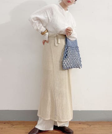 Lattice(ラティス) ウッドハンドルマクラメ編みバッグ