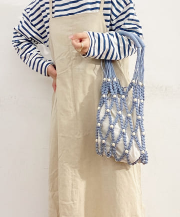 Lattice(ラティス) ウッドビーズマクラメ編みバッグ