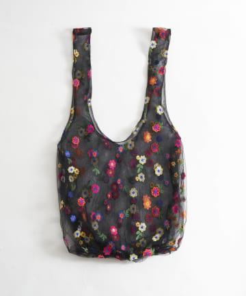 Lattice(ラティス) チュールフラワー刺繍バッグ